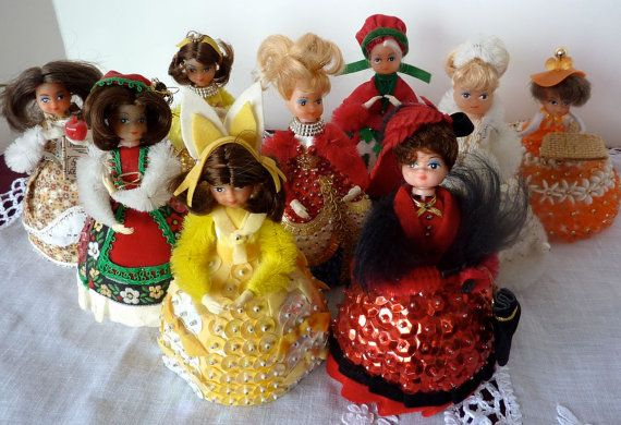 Set of 9 Vintage FOAM SEQUIN Pin DOLLS by