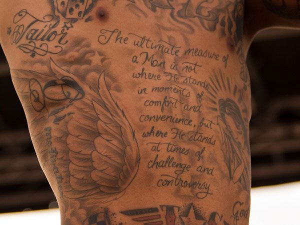 Cool mens side of body quote tattoo tattoos quote for Religious rib tattoos for guys