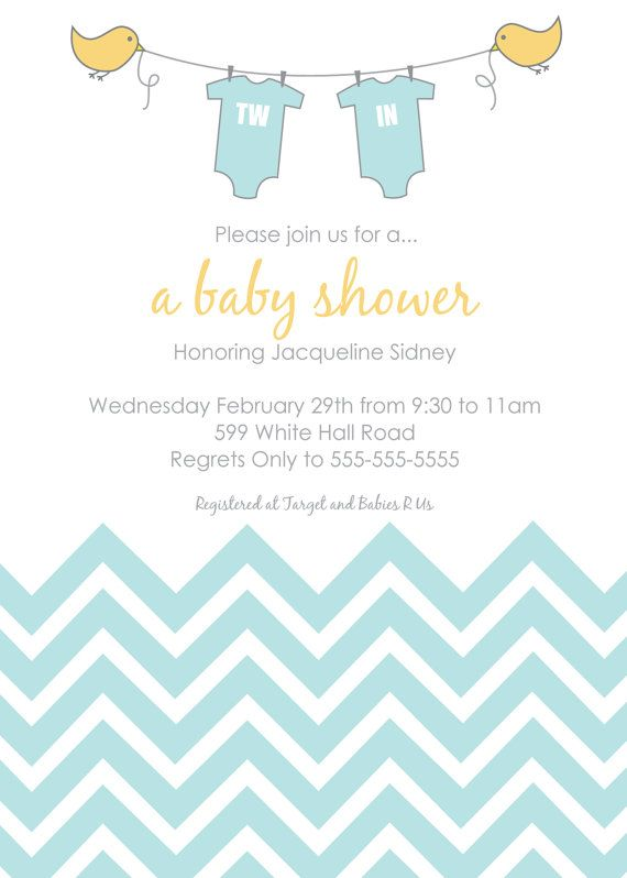 printable or emailable baby shower invitation twins girl