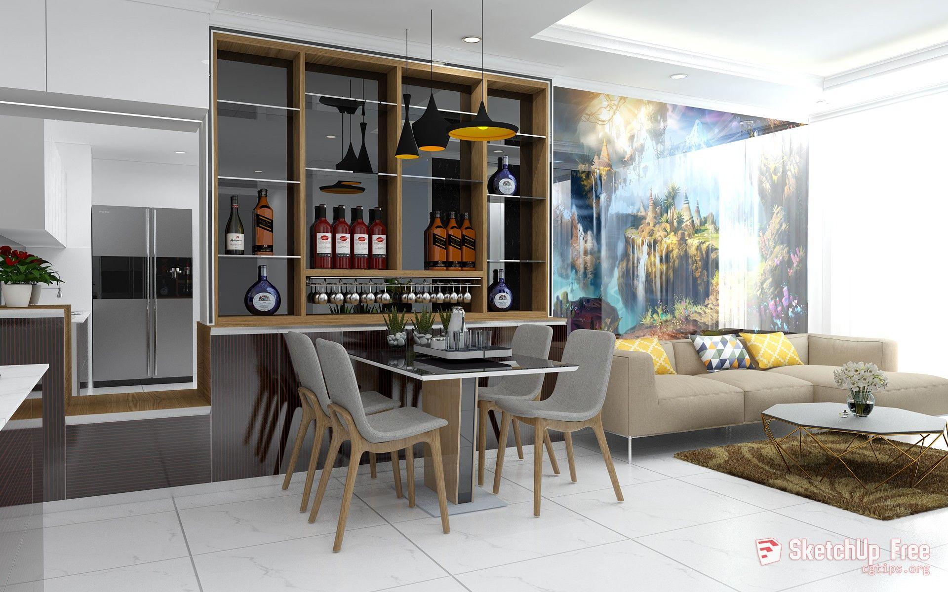1471 Interior Livingroom Scene Sketchup Model Free Download