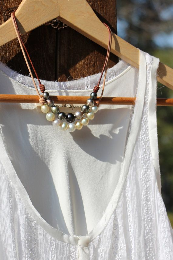 South Sea Pearls on Leather Necklace by HappyGoLuckyJewels on Etsy