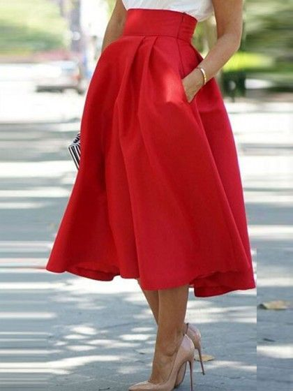 Red High Waist Chic Midi Skirt with Pockets | Swing skirt, Chic ...