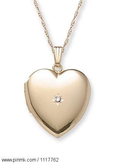"14k Yellow Gold Filled Diamond-Accent Heart Locket, 20"""