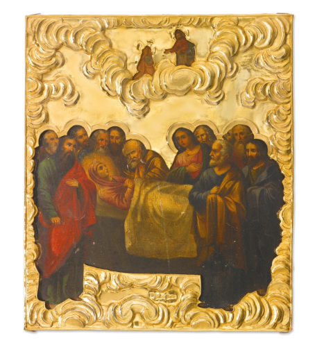 icon of the Dormition with silver-gilt oklad