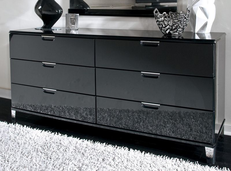Black Glass Dresser | Black dresser bedroom, Glass dresser