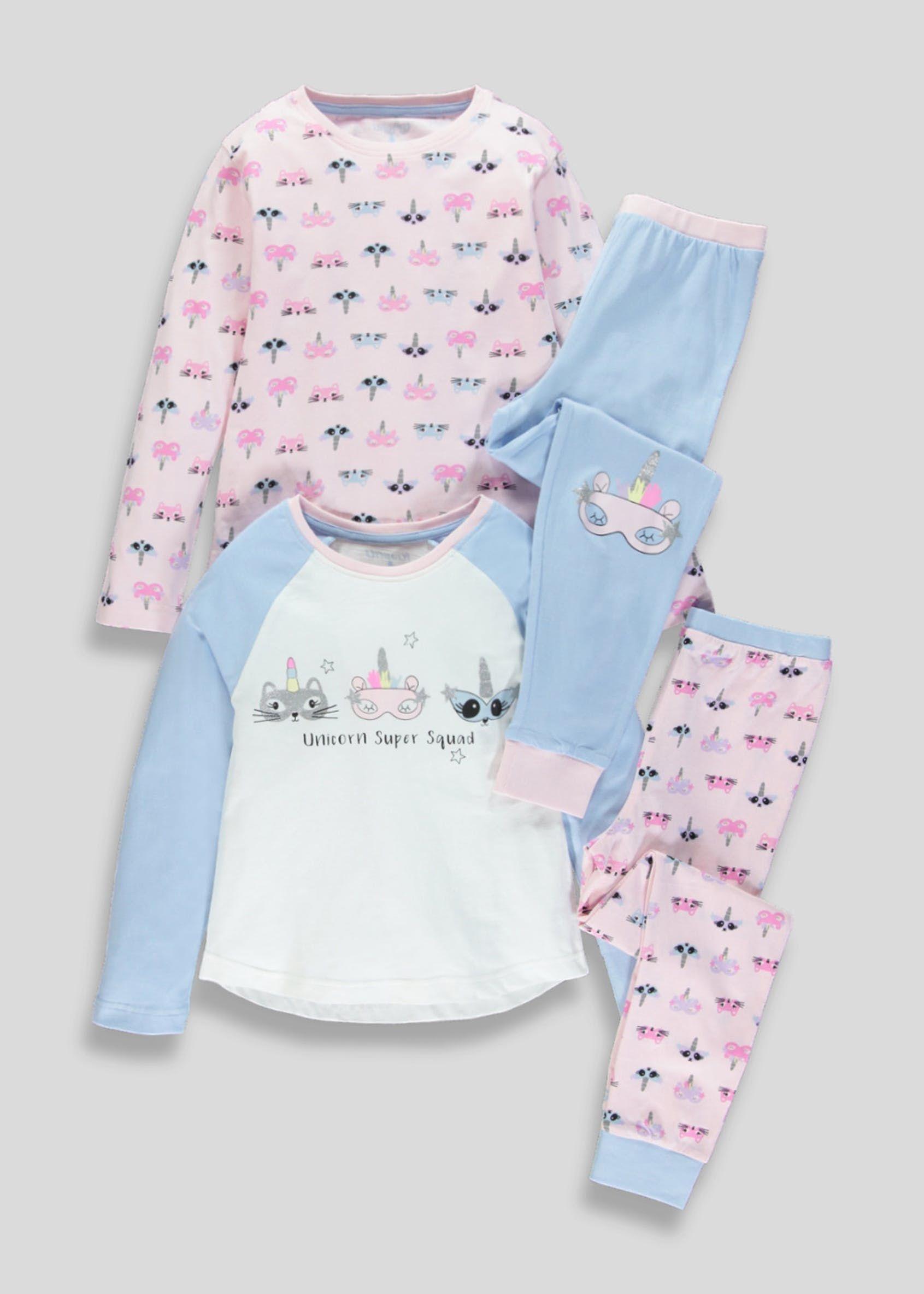 d21f77f3a9a5 Girls 2 Pack Unicorn Squad Pyjamas (4-13yrs) – Pink