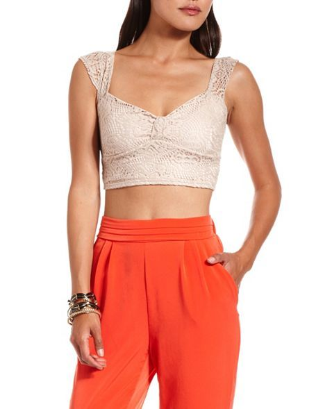 Bow-Front Crochet Crop Top: Charlotte Russe - with high waist orange shorts