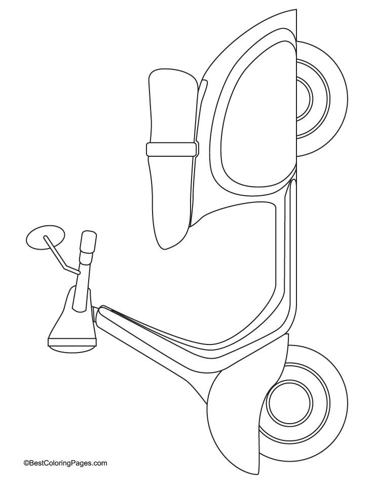 This is a photo of Witty Scooter Coloring Pages