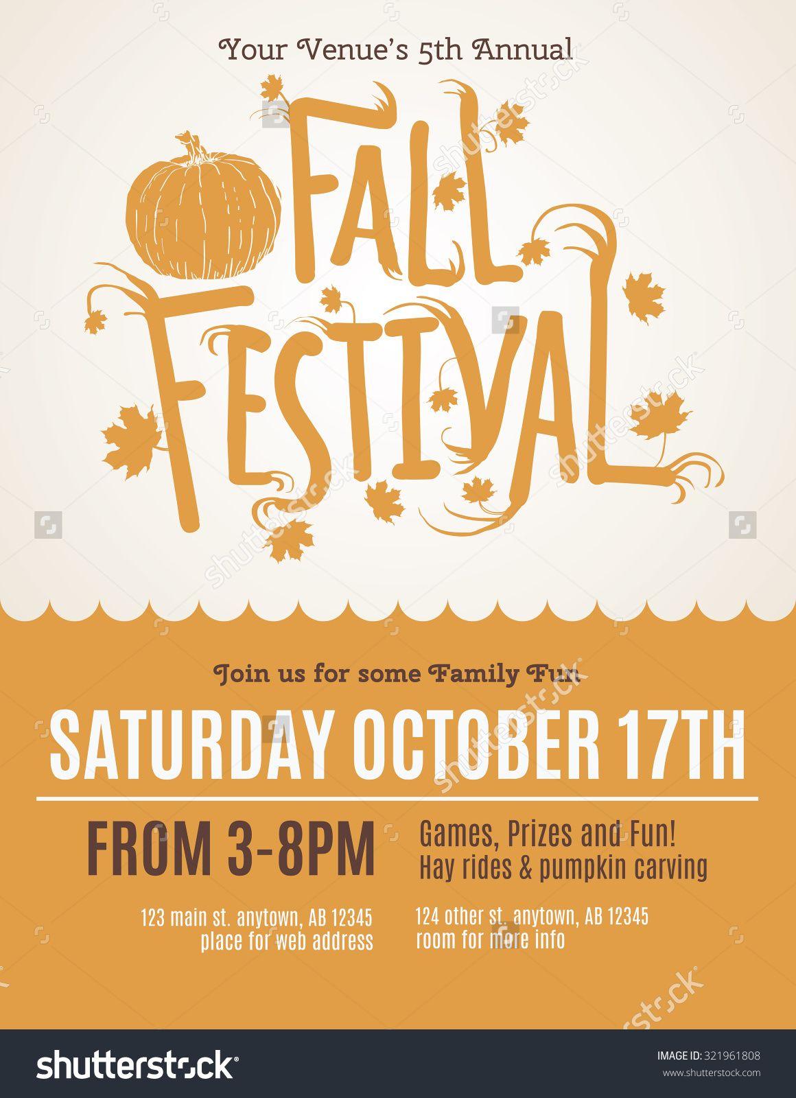 Fun Fall Festival Invitation Flyer Ilustración vectorial en stock ...