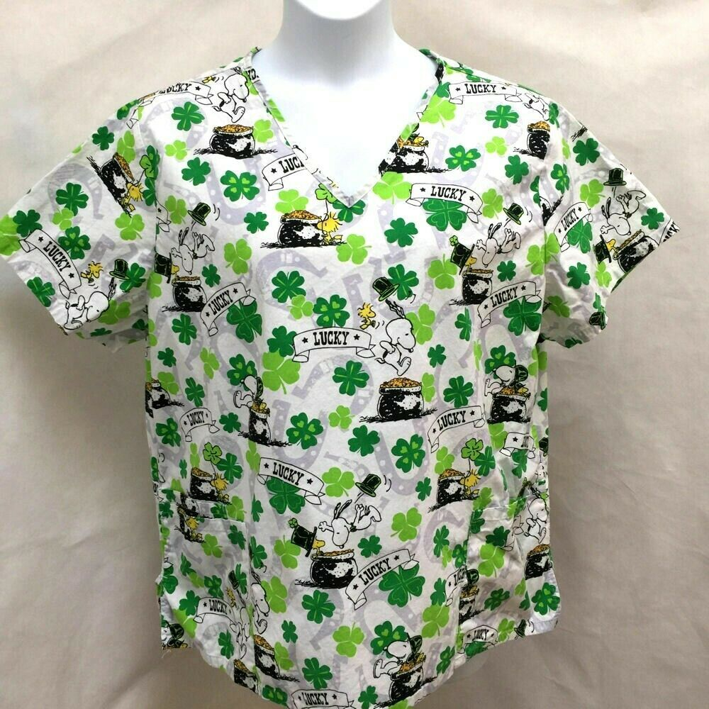 48a67f1e760 Peanuts Plus Size 2X Scrub Top St Patricks Day Snoopy Shamrock Green White  #Peanuts
