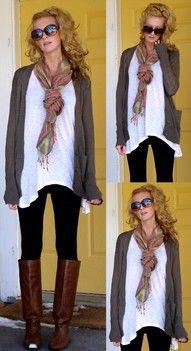 Long shirt & boots....love it!