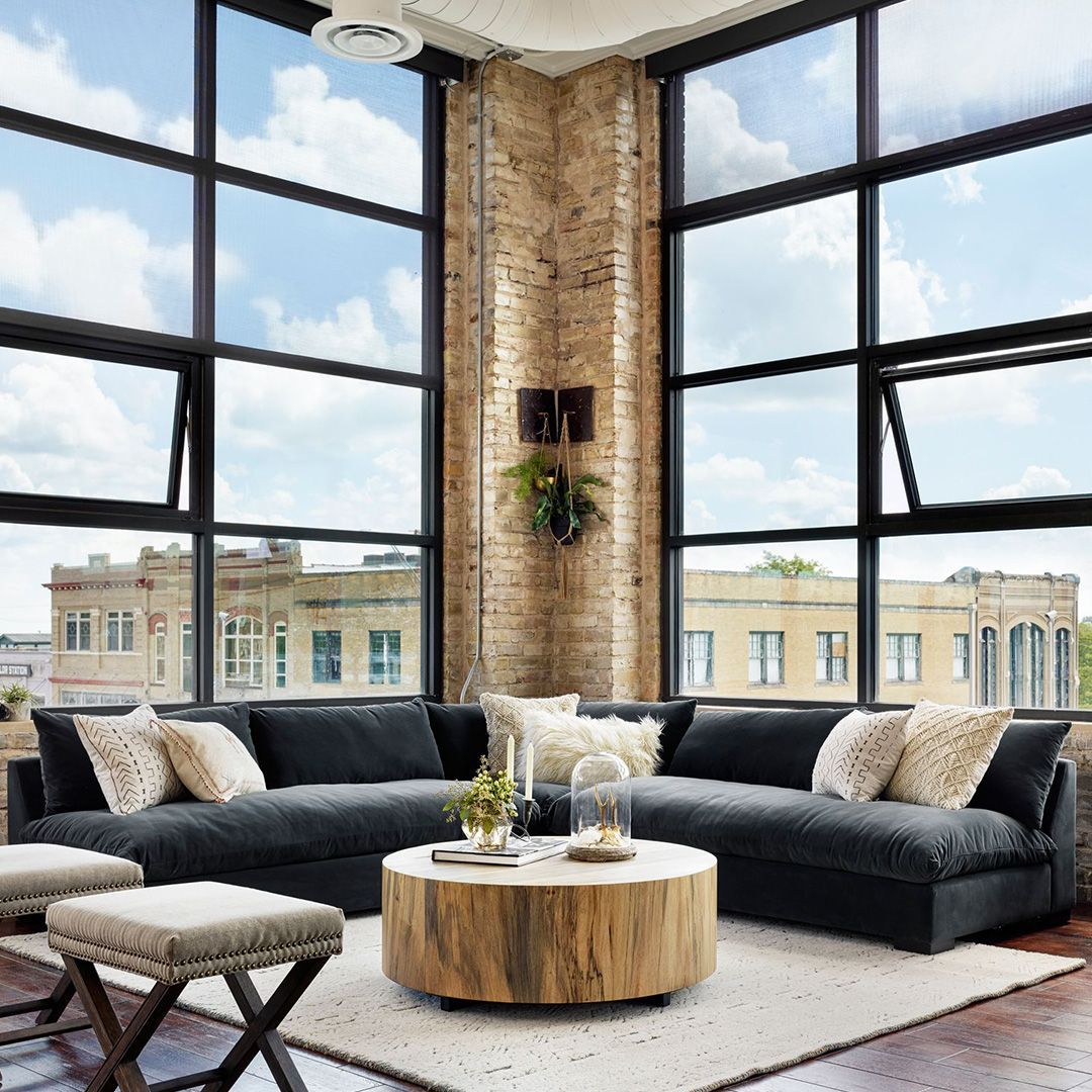 Cozy Sectional Rustic Coffee Table Modern Loft Apartment