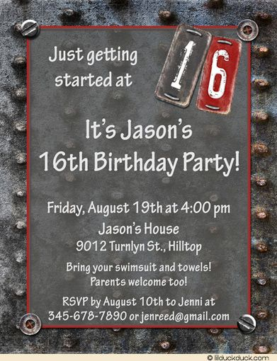 Rugged Metal Teen Birthday Invitation