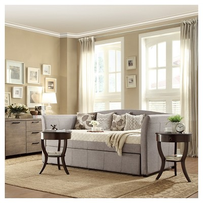 Paige Daybed With Pullout Trundle Gray Linen Twin Homelegance
