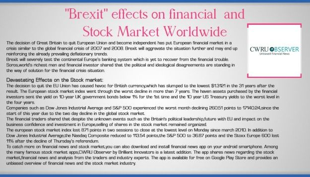 """""""Brexit"""" effects on financial  and Stock Market Worldwide"""