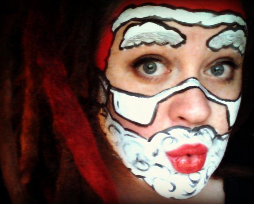 My Christmas Face Paint Santa Claus Never Looked Better Christmas Face Painting Carnival Face Paint Face