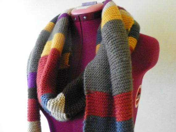 Handmade Knitted Inspired by Dr Who style super scarf based on Tom ...