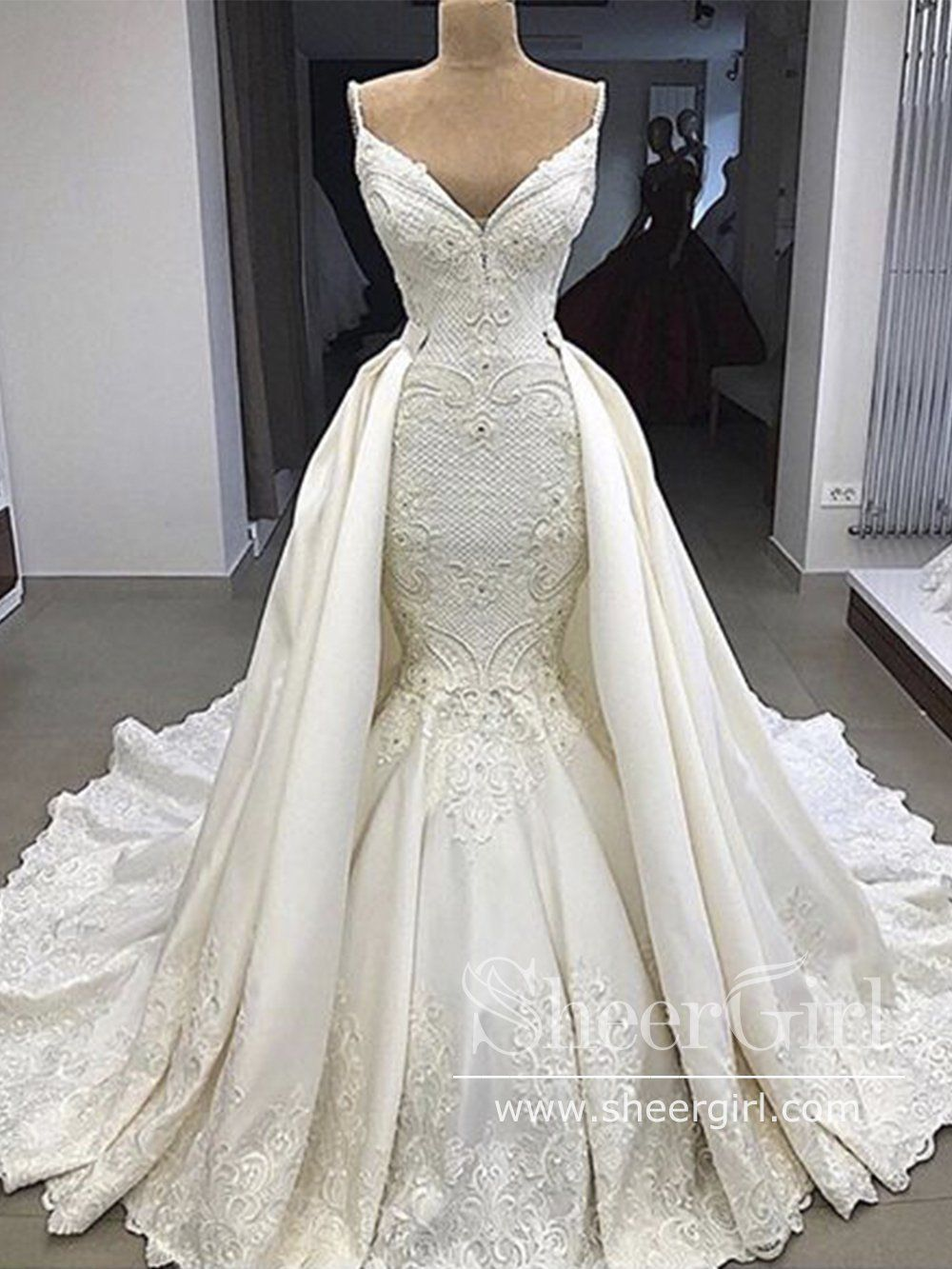 Luxurious Satin Embroideried Quinceanera Dress Beaded Ball Gown Wedding Dress With Detachable Train Awd1710 In 2021 Ball Gowns Wedding Cocktail Wedding Attire Wedding Dresses [ 1333 x 1000 Pixel ]
