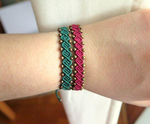 Minimalista bohemien rosso verde macrame bracciale   Etsy