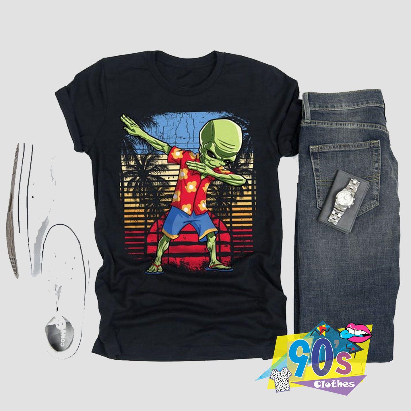 Funny Dabbing Alien Hawaiian T shirt #adventlustigerster