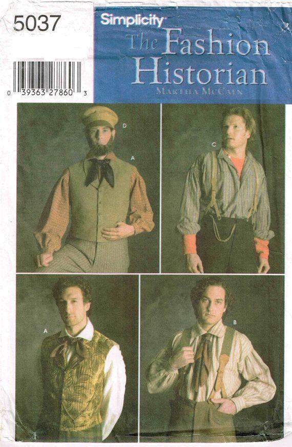 Mens Victorian Steampunk Vest Coat Pants Tie Costume Sewing Pattern S M L XL XXL