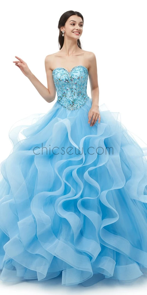 Sweetheart Blue Organza Ball Gown Beaded Long Evening Prom Dresses , XDM1173 #bluepromdresses