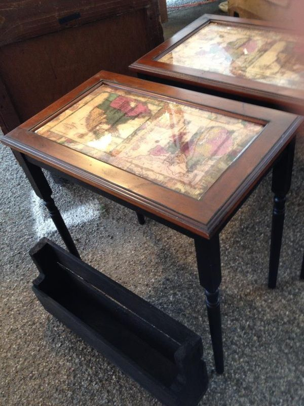 Unique End Tables With An Awesome Map Design On The Top Covered With A High  Quality Glaze! The Table Tops Are Re Purposed Cabinet Doors And Stair  Spindles ...