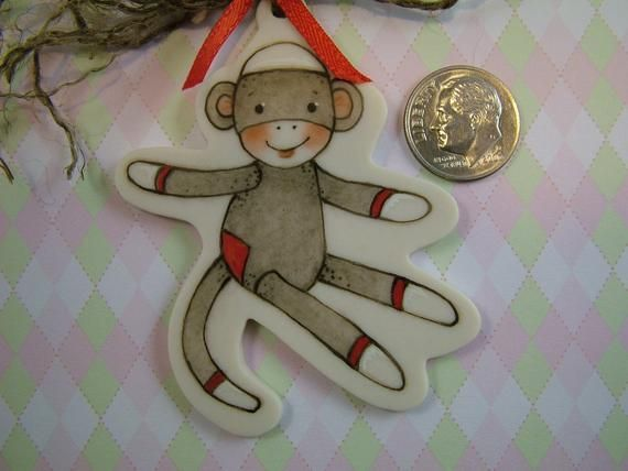 Sock Monkey Ornament #sockmoneky