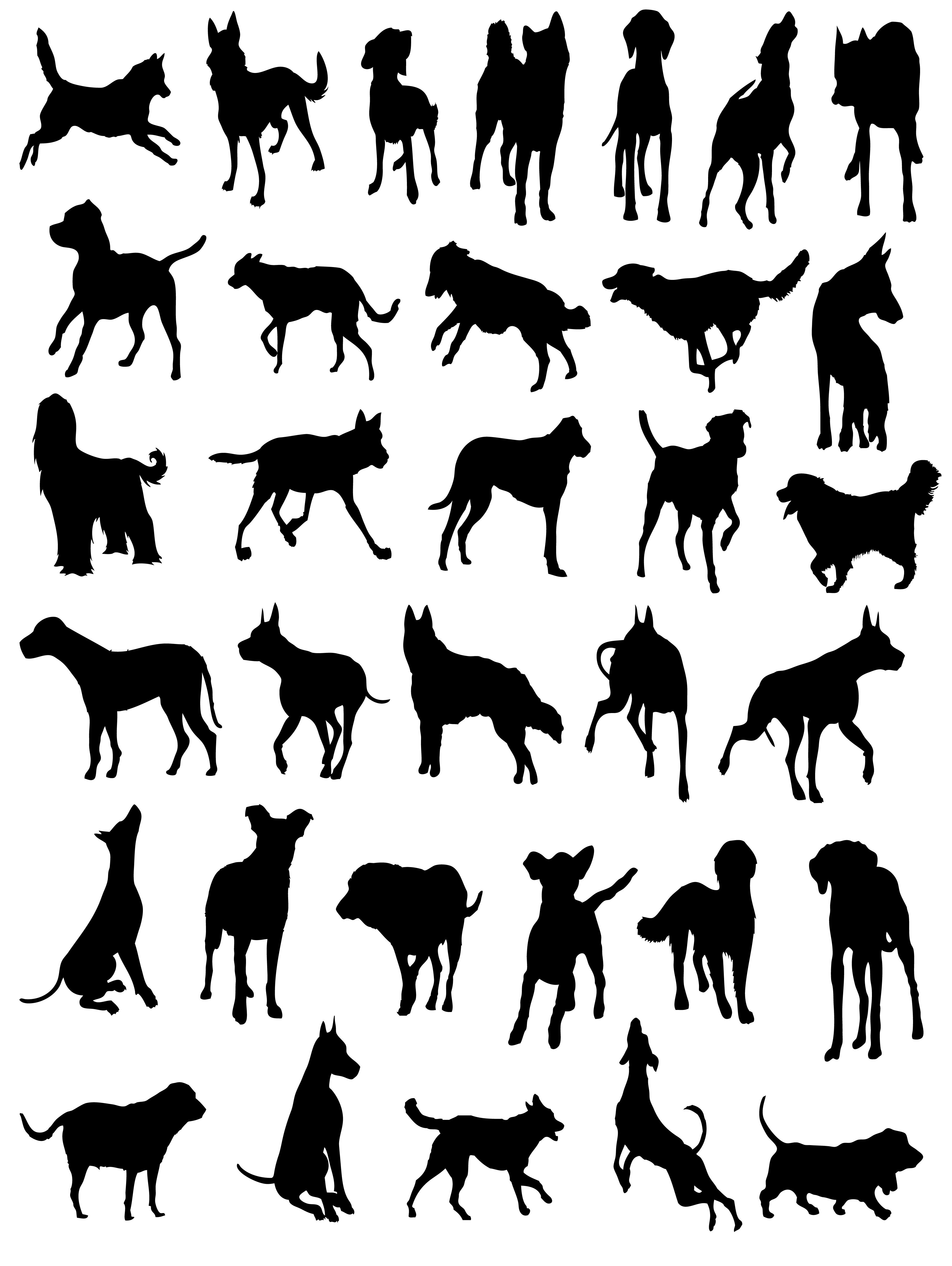 Dog Cat Silhouette Vector Free (With