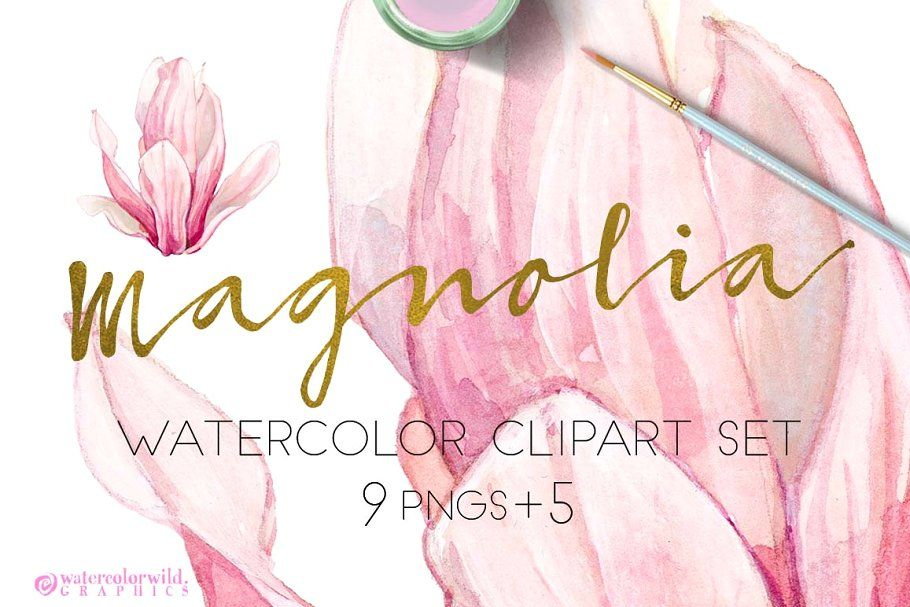 Photo of Ad: BUNDLE PINK FLOWERS-85% by watercolorwild.graphics on Creative Market. All m…