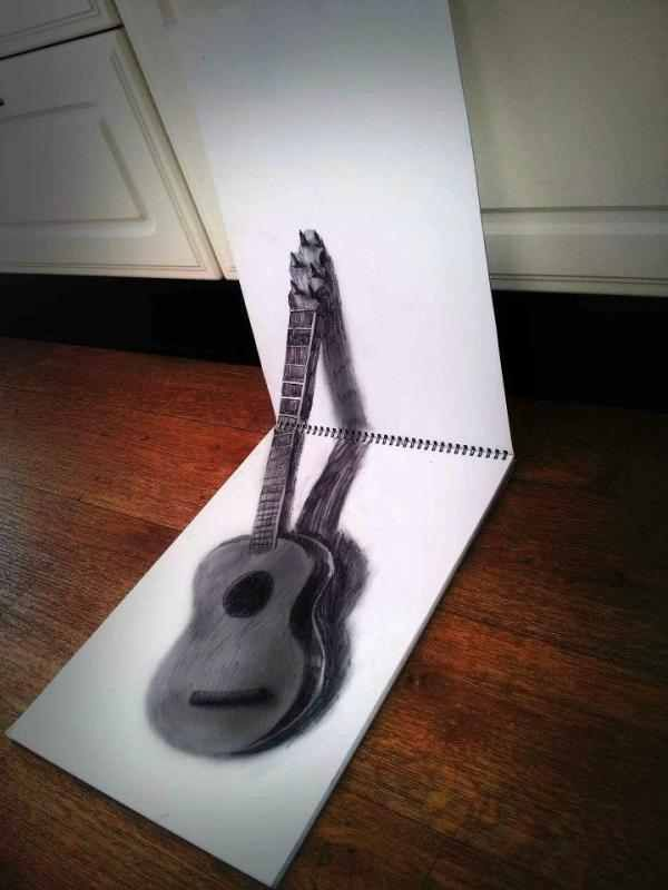 Amazing 3d Sketch Of An Acoustic Guitar Beautiful Illusion Drawings 3d Drawings Optical Illusions Drawings