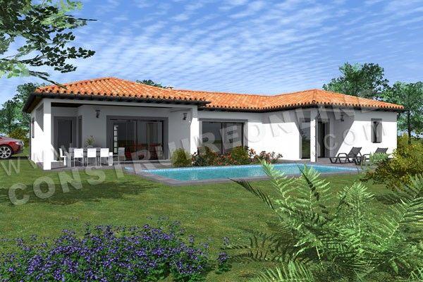 Maison moderne de plain pied de type 4 2 chambres suite parentale terrasse couverte garage - Maison moderne plain pied 4 chambres ...