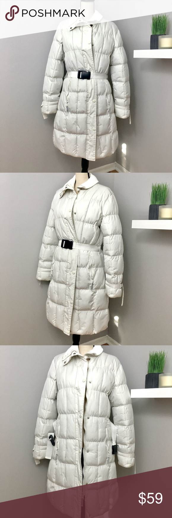 White Puffer Coat With Zipper And Clasps White Puffer Coat Puffer Coat Long Puffer Coat [ 1740 x 580 Pixel ]
