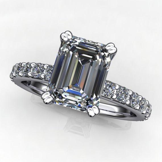 sage wedding set – 1 75 carat emerald cut NEO moissanite