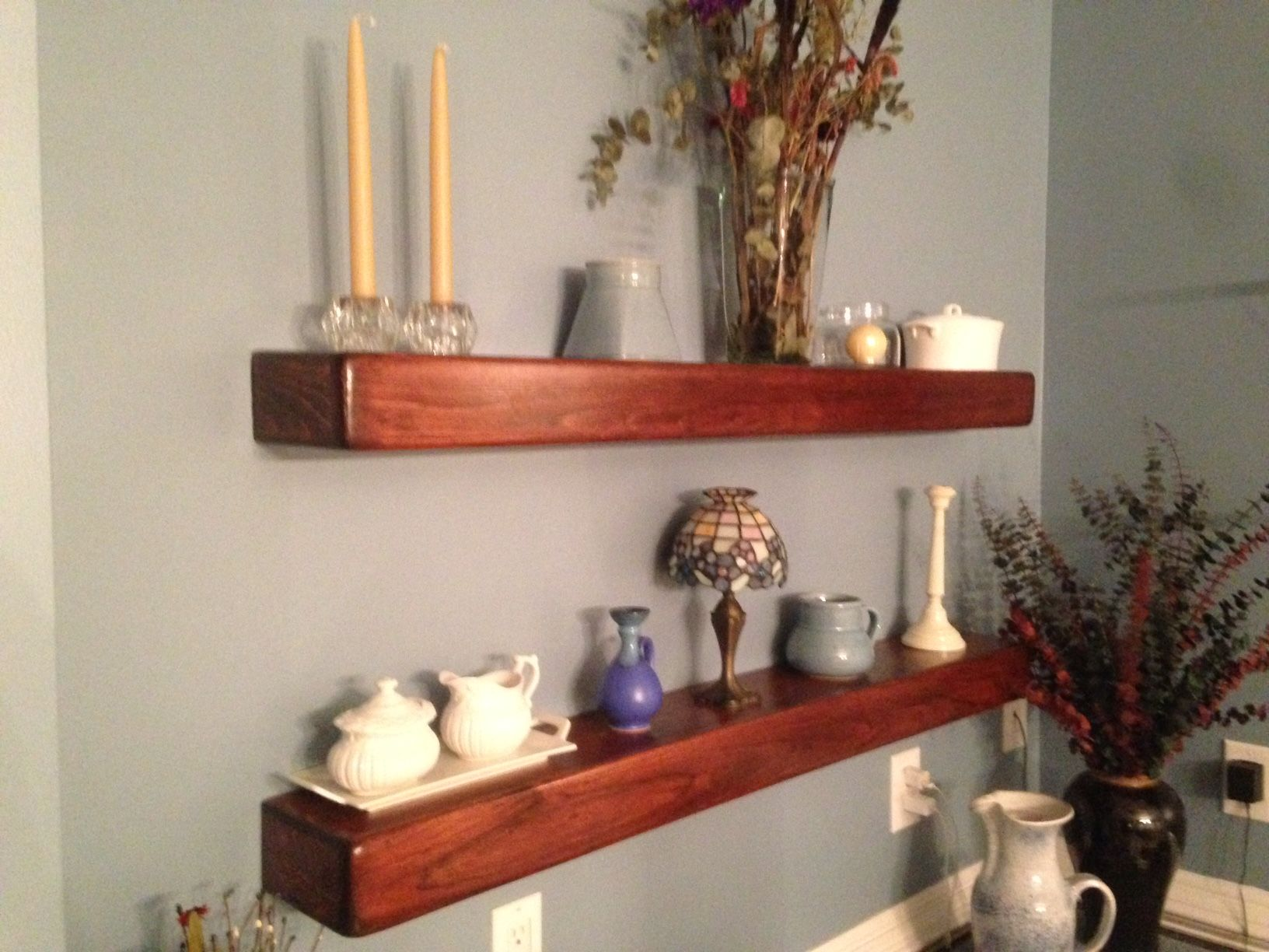 Floating Shelves Hung With French Cleat For A Neat And Strong Hold Floating Shelves Shelves Finishing Basement