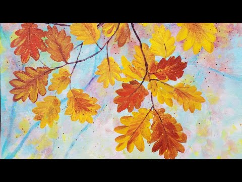 (276) Easy Autumn Leaves Acrylic Painting LIVE Tutorial - YouTube