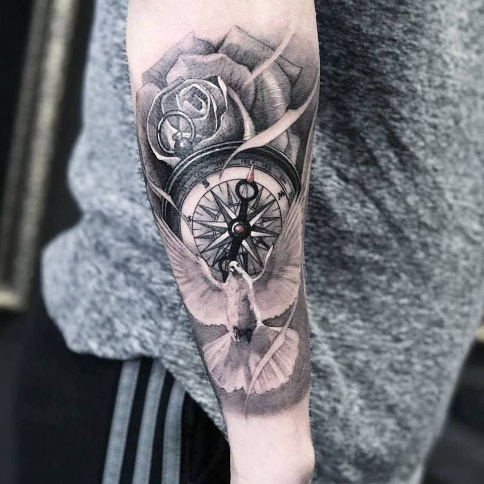Compass and dove tattoo by marcos at holy grail tattoos