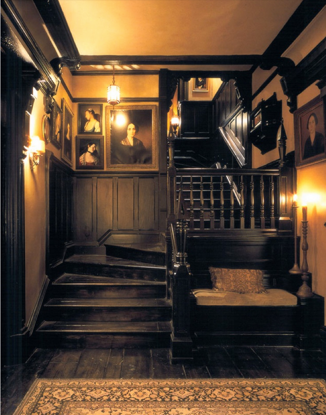 Practical magic house halls dark interiors also diggin  the staircase for my inner goth in pinterest rh