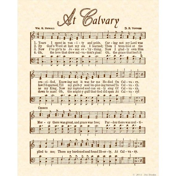 At Calvary 8 X 10 Antique Hymn Art Print On Natural Parchment