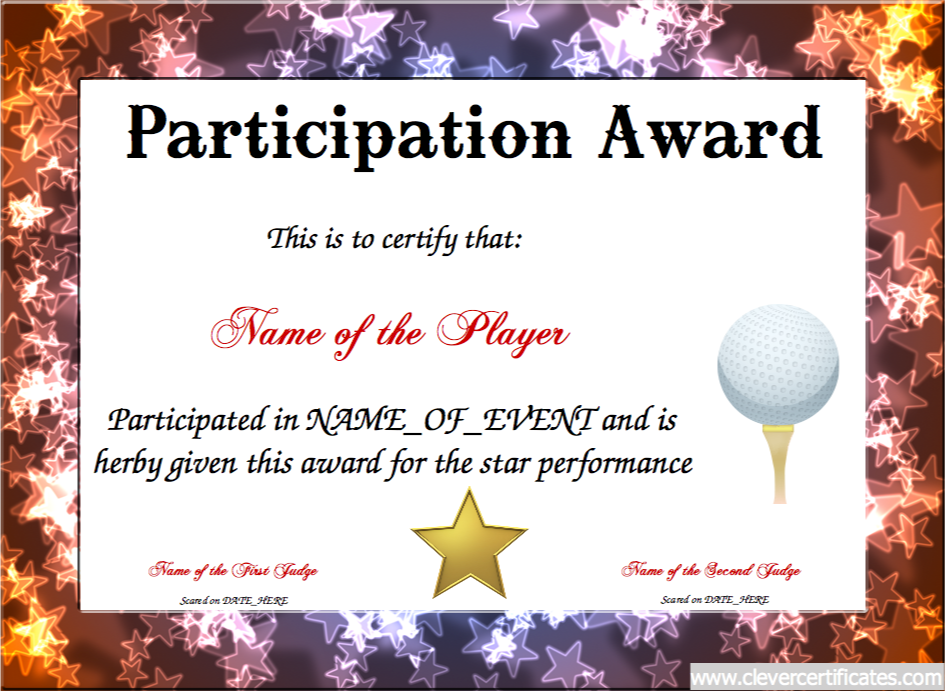 Participation Award Free Certificate Templates For Kids Sport