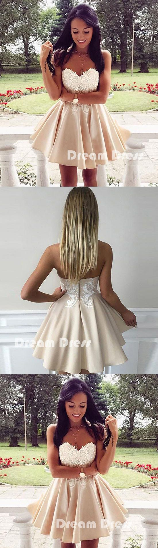 Cute lace applique short prom dress cute homecoming dresses