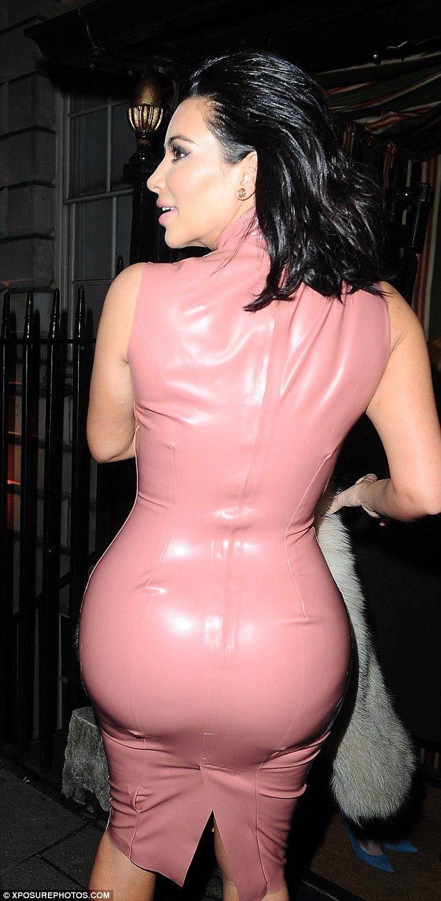 Kim kardashian pink latex dress new foto