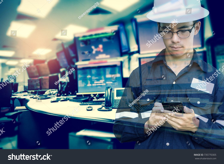 Double exposure of Engineer or Technician man in working