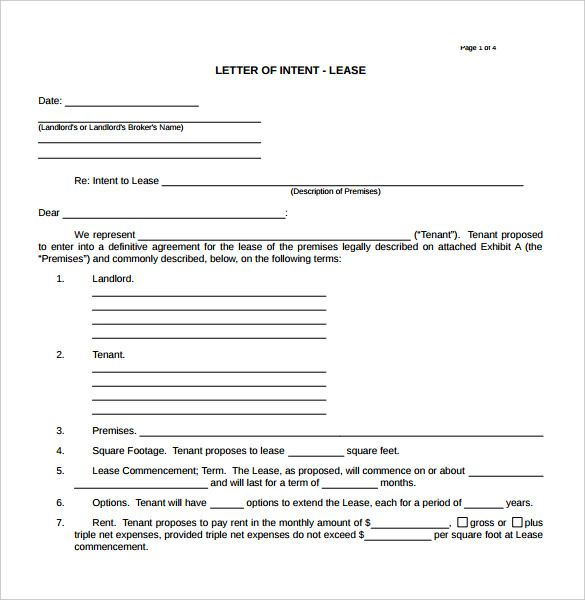 Image Result For Letter Of Intent For Lease Of Property  Internet