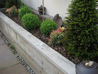 Raised Timber Sleeper Plant Border With A Concrete Block And Rendered Wall Behind Finished With Coping Ston Patio Garden Design Sleepers In Garden Garden Wall
