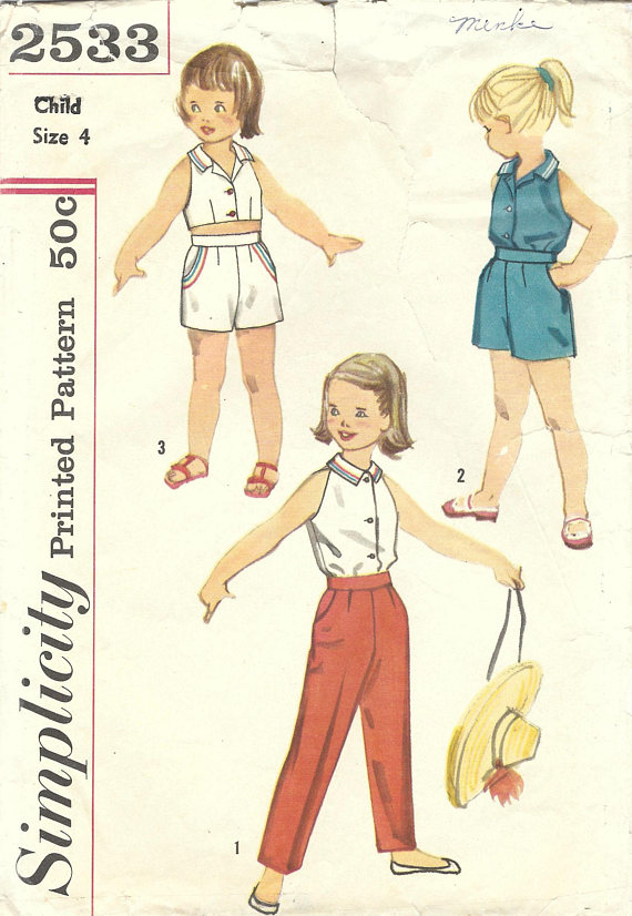 1950s Simplicity 2533 Vintage Sewing Pattern Girls Shorts, Long ...
