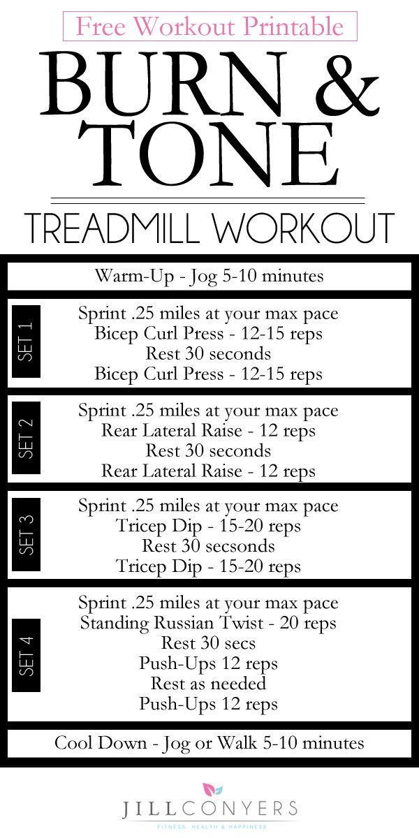 30 minute tone and burn treadmill workout do it pinterest ejercicios y excusas. Black Bedroom Furniture Sets. Home Design Ideas