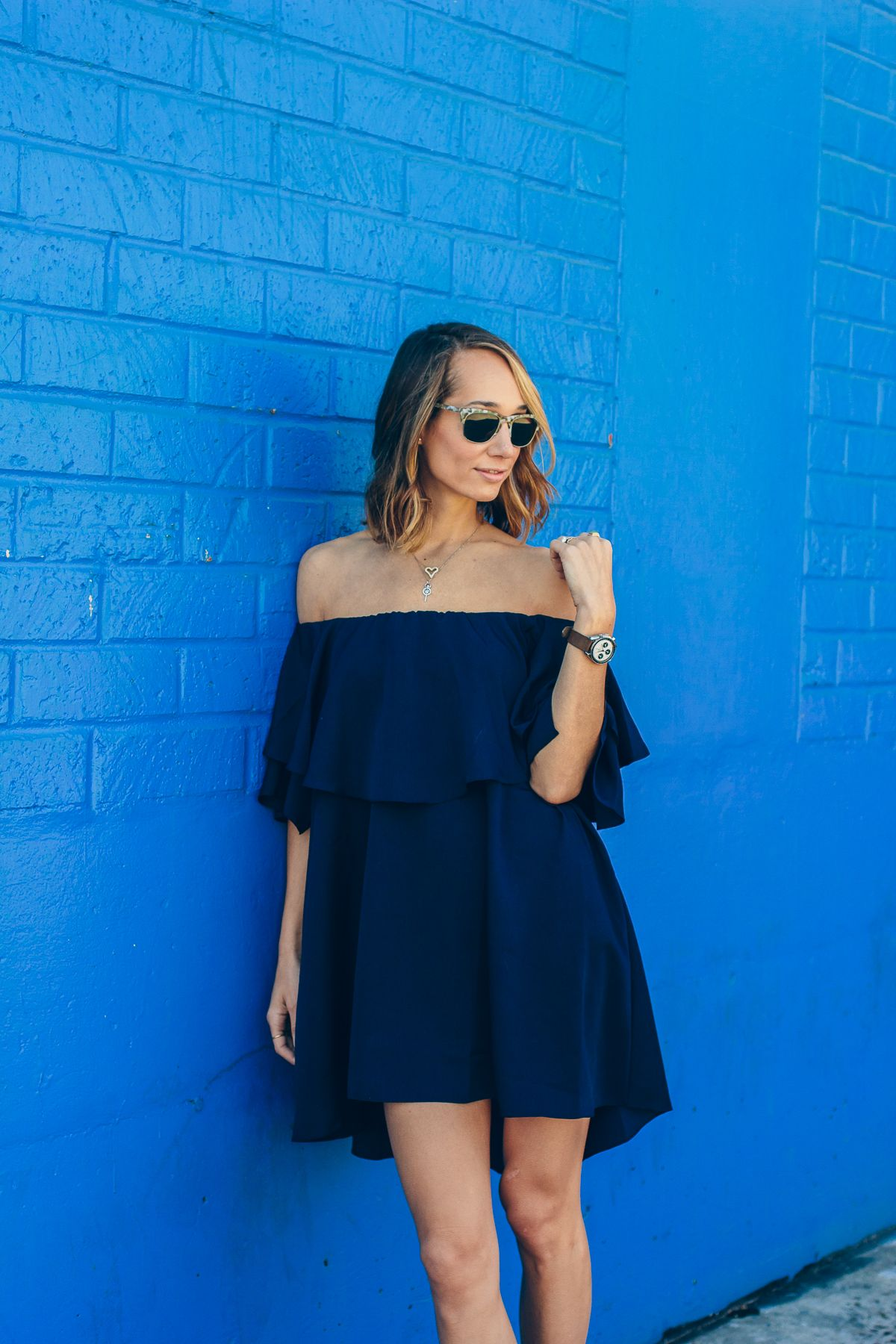 off the shoulder dress, MLM label dress, party dress, tassel shoes — via @TheFoxandShe