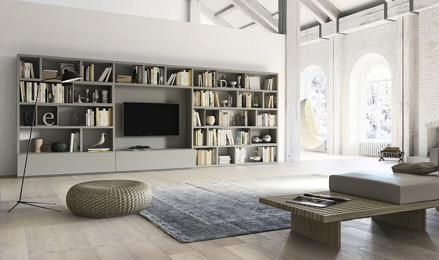 Living room wall unit with side panels, shelves, TV compartment ...