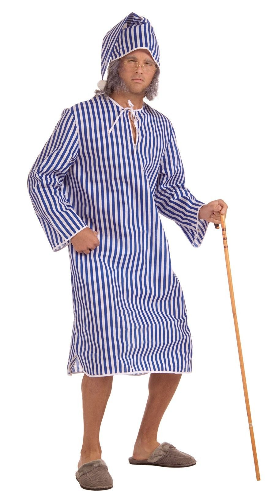 Adult One Size Scrooge Nightshirt With Cap Victorian Fancy Dress
